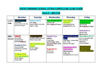 clubs term 4